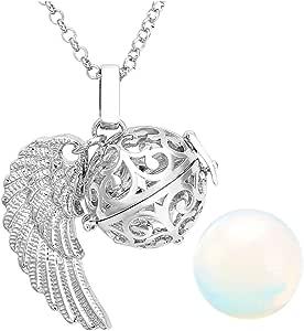 JOVIVI, ciondolo chiama-angeli cavo, a forma di gabbietta con ali d'angelo, apribile, conpietra da Ø 16mm e catenina da 71cm
