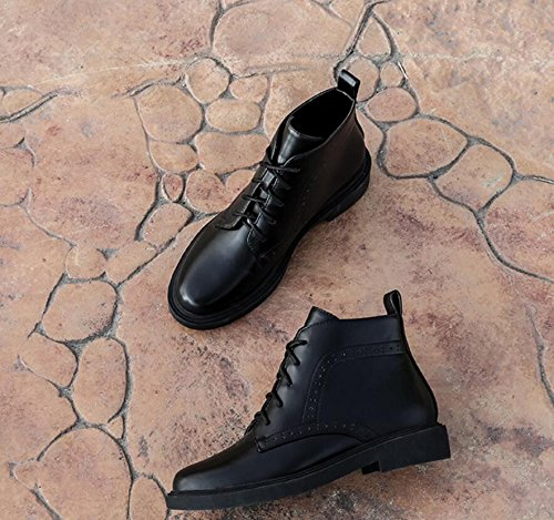 Khskx-winter NEUF Korean Version du British Wind Tête ronde de serrage Femme Chaussures sculpté Martin Bottes Bottes de femme avec des bottes courtes et de courtes noir
