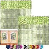 Bestlivings Fadenvorhang 2er Pack Gardine Raumteiler, Auswahl: 90x240 grün - hellgrün
