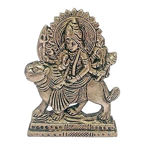 ART N HUB Brass Antique Look Hindu Goddess Durga Devi Handicraft Statue Sherawali Mata Rani / Maa Kali Decorative Spiritual Puja Vastu Showpiece Figurine - Religious Pooja Gift Item & Murti for Mandir / Temple / Home / office ( H-10 CM )