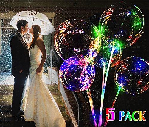 5 Stück LED Ballon, LED Transparent Ballon Zum Weihnachten Hochzeit Party Dekorationen Urlaub Mit Griff (Transparente Luftballons Kleine)
