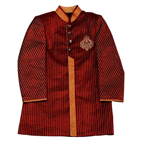 AARYA Boy's Indo-Western Red Velvet Sherwani with Gold Trouser (Size 12-13 Years)
