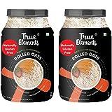 True Elements Rolled Oats (1.2 kg * 2) - Cereal for Breakfast, Plain Oats, Rolled Oats Gluten Free, Diet Food Combo