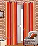 Famekart Royal Multi Shade Stripped Pattern Design Window & Door Curtain (Dark Orange-Orange-Golden, Long Door - 9 Feet) (Pack Of 2 Curtains)