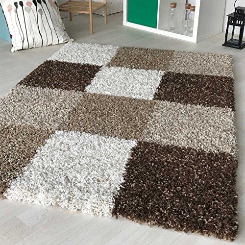 Hochflor Shaggy Teppich kariert in versch. Farben und Größen Langflor Teppiche für Wohnzimmer und Jugendzimmer. (160 x 230 cm, Braun)