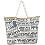 ZWOOS Oversized Beach Holiday Bag Large Travel Tote Shopping Shoulder Bag with Zip for Women and Girls (Elephant)