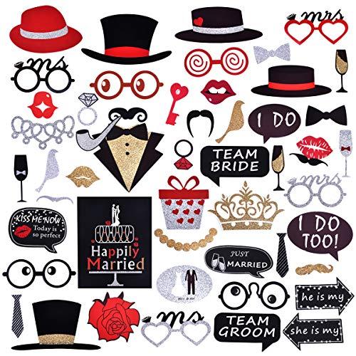 Hochzeit 54-Stück Fotobox Accessoires Hochzeit Foto Booth Props DIY Kit mit Hüte, Lippen, Schnurrbart, Gläser und mehr auf Sticks ()