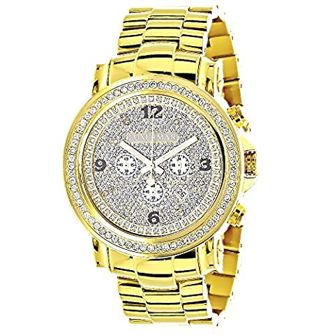 Iced Out LUXURMAN Large Diamond Bezel Watch for Men 18k Yellow Gold Plated Metal Band & Chronograph (Chronograph Metal-band)