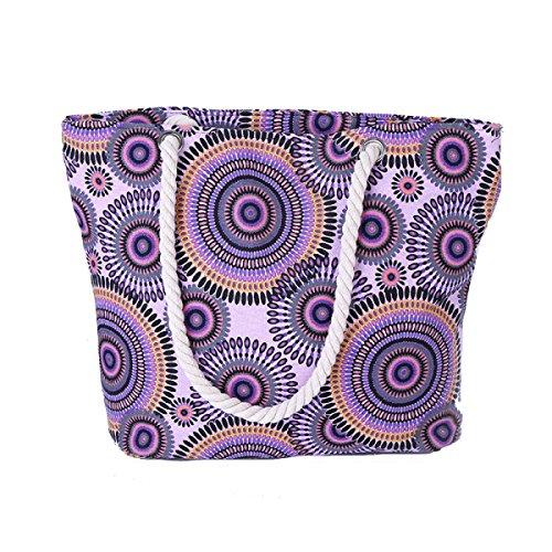 Donne Sveglie Tela Stampa Di Spalla Casuale Bag Beach Bag Purple