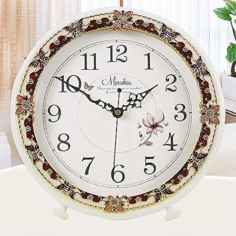 MCC Horloge de table rétro antique solide bois papillon Pastorale de décoration fait main calme Luther Bell Quartz support horloge , B