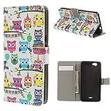 König-Shop Handy-Hülle für Huawei Honor 4C Schutzhülle Schutztasche Tasche Case Cover Etui Schale Handyschale Handytasche Klapptasche Klapphülle Wallet Kunstleder Bunte Eulen Party
