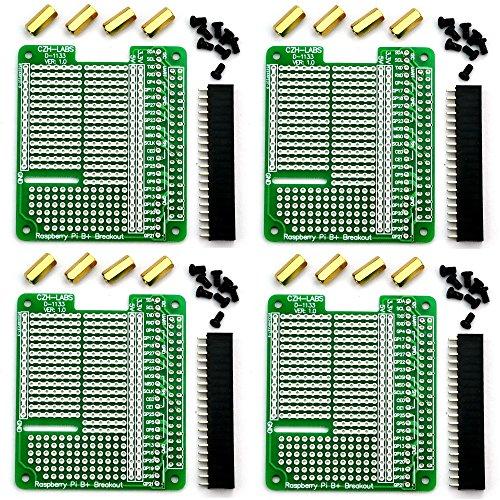 Electronics-Salon 4x Prototype Breakout PCB Shield Board Kit for Raspberry Pi 3 2 B+ A+, Breadboard DIY
