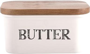 Creative Tops &Quot;Bake Stir It up Butterdose aus Steingut mit Deckel aus Akazienholz, groß, Weiß