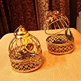 MIB Metal My Indian Brand Decorative Handmade Cage (Gold, Small) Set of 2