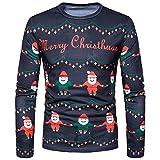 SEWORLD Weihnachten Christmas Herren Abend Party Männer Weihnachtskostüm Sankt Drucken Urlaub Humor Langarm T-Shirt Xmas Top(Mehrfarbig3,EU-50/CN-L)