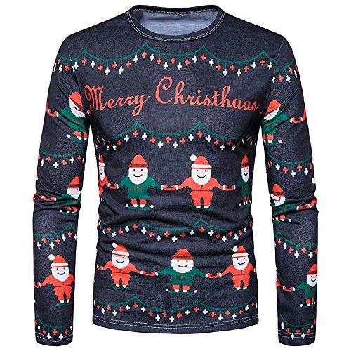 SEWORLD Weihnachten Christmas Herren Abend Party Männer Weihnachtskostüm Sankt Drucken Urlaub Humor Langarm T-Shirt Xmas Top(Mehrfarbig3,EU-52/CN-XL)