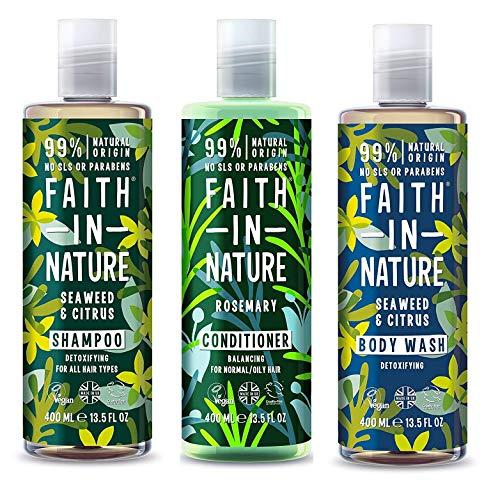 Faith In Nature Seaweed & Citrus Shampoo, Conidtioner & Shower Gel Trio -
