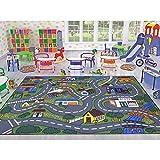 Ottomanson Jenny Collection Kinder-Teppich, Grau/Mehrfarbig, Straßenverkehr, waschbar, Rutschfest, 100 x 150 cm