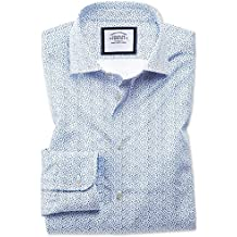 Slim Fit Semi-Cutaway Business Casual White and Blue Ditsy Print Cotton Formal Shirt Single Cuff by Charles Tyrwhitt
