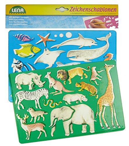 Lena 65768 - Zeichenschablonen Set Afrika und Meerestiere, mit 2 Schablonen für afrikanische Wildtiere und Tiere aus dem Meer, mit Farbvorlagen, Malschablonen 26 x 19 cm, Malset für Kinder ab 3 Jahre