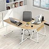 Fanilife, scrivania moderna a forma di L, scrivania ad angolo per computer e laptop, scrivania per studio, stazione di lavoro, in legno, grande scrivania per casa o ufficio Oak