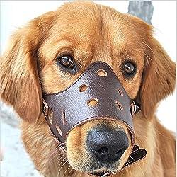 Easylifer Verstellbare Hundemaulkorb aus Leder atmungsaktiv Sicherheit Haustier Hund Maulkorb Maske f¨¹r Bissig und Barking(M)