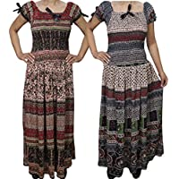 Boho Chic Women's 2 Lots Empire Long Maxi Bohemian Maxi Sun Dress