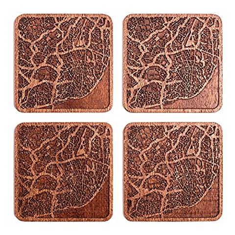 Lisbon Map Coaster, Set Of 4, Sapele Wooden Coaster With