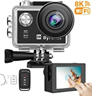 Byroras 8K/15fps Action Cam 4K/60ps Videocamera 20MP Action Camera WiFi 2.0'' Touch Screen Comando Vocale 40m Fotocamera Sub