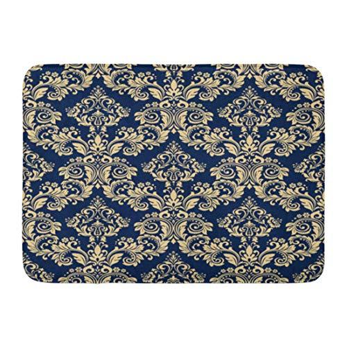 Antik-gold-teppich (Soefipok Fußmatten Bad Teppiche Outdoor/Indoor Fußmatte Antikes Blumenmuster Barock Damast Gold und Dunkelblau Schwarz Vorhänge Badezimmer Dekor Teppich Badematte)