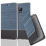 Cadorabo Hülle für Samsung Galaxy Note Edge - Hülle in DUNKEL BLAU SCHWARZ – Handyhülle mit Standfunktion und Kartenfach im Stoff Design - Case Cover Schutzhülle Etui Tasche Book