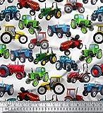 Soimoi Sewing Cotton Voile Gewebe Material Traktor Druck 58 Zoll breit als Meterware-Weiß