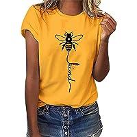 T Shirt Maglietta Manica Corta Girocollo Donna Estiva Elegante Camicia T-Shirt da Donna Divertenti Bee Kind Stampata…