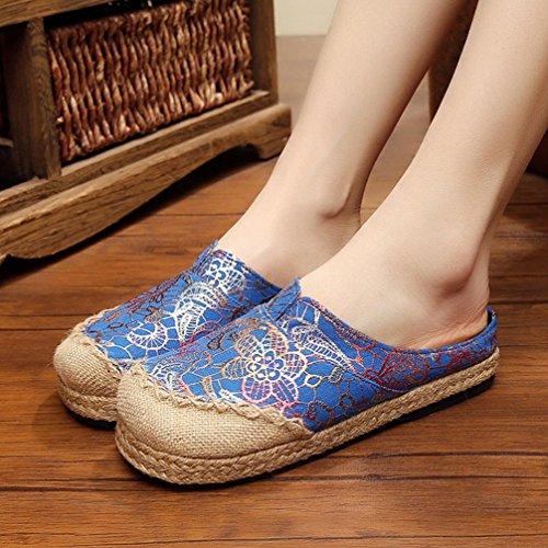 DM&Y 2017 scarpe fatte a mano biancheria per la casa di un pedale pigro scarpa abbronzanti stoffa pantofole Ms. Blue