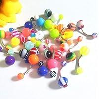 Frcolor Anelli ombelico a bottone da 100 pezzi. Monili penetranti di colore misto per la decorazione del corpo