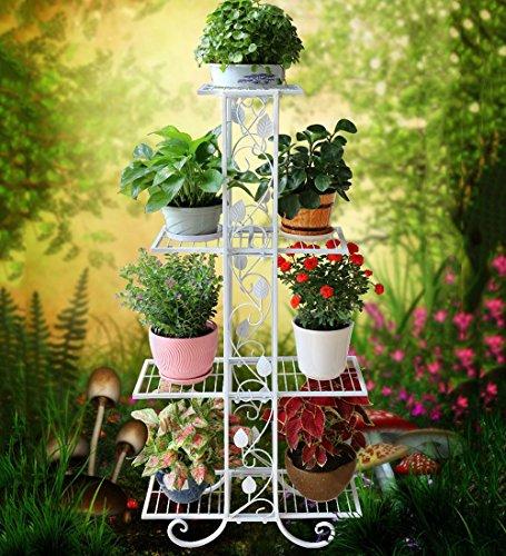 Pflanzenstandplatz Schmiedeeisen Multipurpose Flower Stand Plant Display Rack geeignet für Outdoor Wohnzimmer Balkon | 3 Farbe 3 Größe (Farbe : Weiß, größe : 82cm)