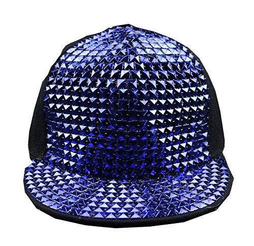 Casquette Hip Hop - BienBien Chapeau De Baseball Réglable Rivet Réglable Punk Unisexe Snapback Bleu
