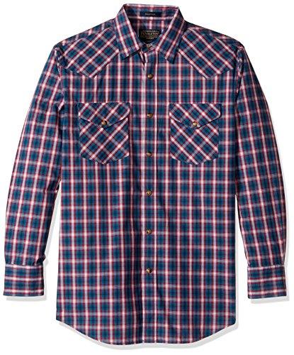 Pendleton Men's Long Sleeve Button Front Classic-Fit Frontier Shirt, True Blue/Red Plaid, XL (Fit Plaid Shirt Classic)