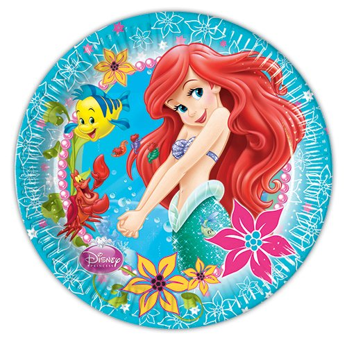 Disney Princess 23 cm Ariel Little Mermaid Party Teller, 8 Stück (Die Meerjungfrau Kleine Ariel)