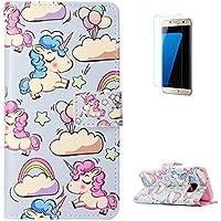 KaseHom Samsung Galaxy S7 + [Protector de Pantalla] Dibujos Animados Estuche Billetera de Cuero Folio con Ranuras para Tarjetas y Cubierta Flip magnética Slim Anti-Arañazos Case - Unicornio Arcoiris