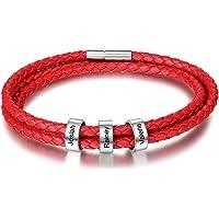 DaMei Personalisierter Armbänder für Männer Damen mit Gravur Silber Anhänger Lederarmband mit Namen Gravur für Männer…