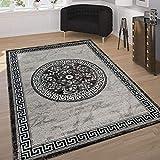 Paco Home Designer Teppich Mit Glitzergarn Klassische Ornamente Bordüre Grau Schwarz Weiß, Grösse:80x300 cm