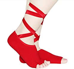 Non Slip Skid Toeless Grip Socks with Ribbon Half Toe Low Cut Cotton Ankle Socks for Yoga Exercise (Red)