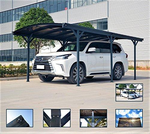 Polycarbonat-carport (Carport Vordach für Auto in Polycarbonat und Aluminium–576x 300cm-außen oder Garten)