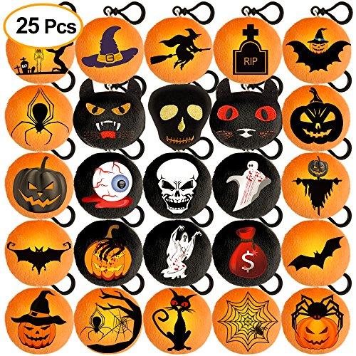 Kuuqa 25pcs llavero de almohada de peluche de Halloween con Spooky Pumpkin Patch Cat para el partido de Halloween Suministros de Decoración para el Hogar 2.4