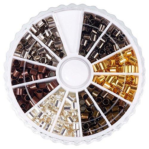 Messing Quetschperlen Metallperlen, Gemischte Metallfarben, Cadmiumfrei & Bleifrei und Nickelfrei, 3x3 mm, Bohrung: 2~2.5 mm; ca. 420 St¨¹ck / Kasten -