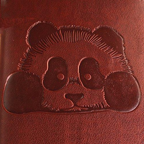 Pheant® Apple iPhone 7 (4.7 pouces) Coque Rouge Étui à Rabat Pochette en Cuir PU Cover Gel Housse de Protection avec Fonction de Support et Fermeture Magnétique Panda Motif de daufrage Brun