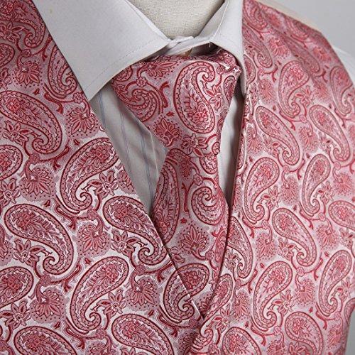 EGD1B.01 Reihen-Muster-Mikrofaser-Kleid-Smoking-Weste-Ansatz-Krawatten-Satz-M?nner durch Epoint EGD1B04C-Pink Rot