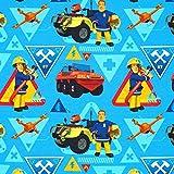 Fabulous Fabrics Singlejersey Feuerwehrmann Sam 3 - blau -