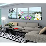 Smile Gallery Floral-Print Square-Shaped Modern Tableau, 120x40 cm - 3 Pieces - 2724825070779